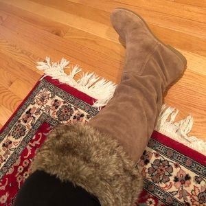 Sam Edelman knee high suede boots with fur